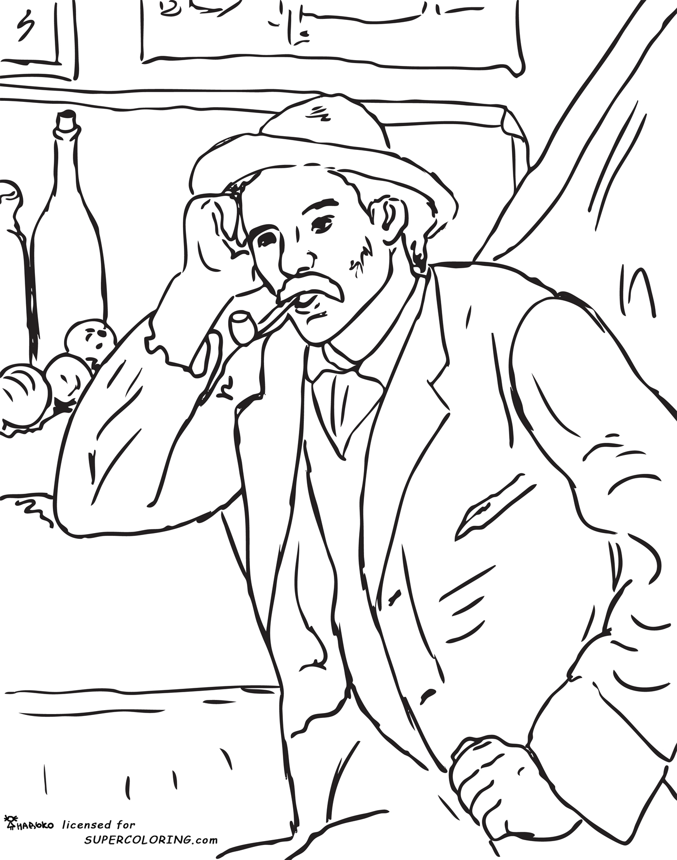Man With A Pipe By Paul C 233 Zanne Coloring Page Maestramarta